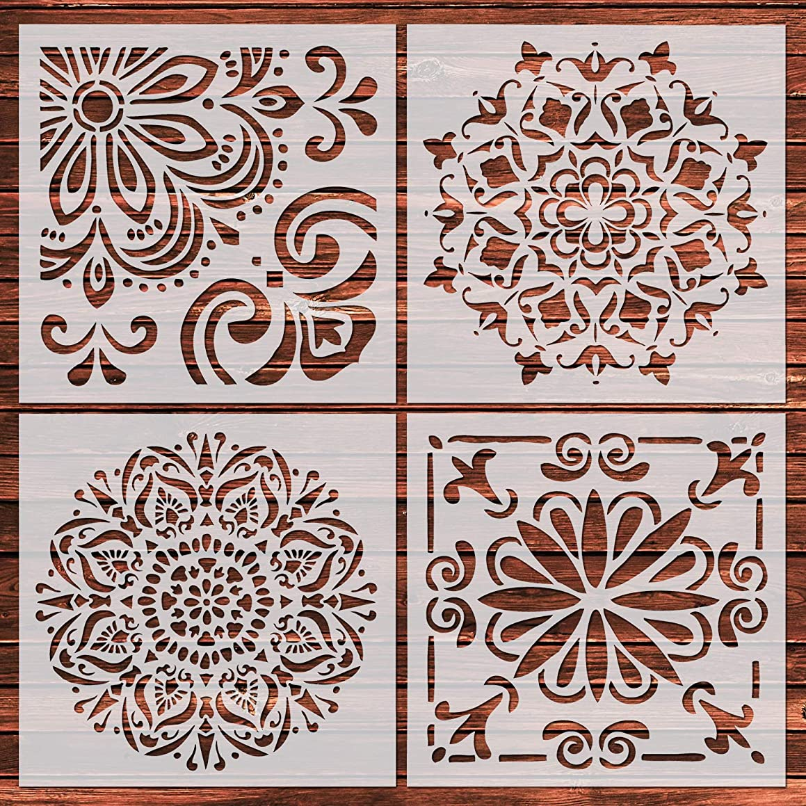 YUEAON 4 Pack Large Reusable Flower Mandala Floor Wall Stencil Vinyl (12 x 12 inch) Painting Stencil, Laser Cut Painting Template Tile Fabric Wood Stone Stencils