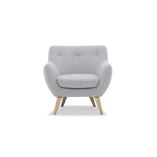 Scandinavian Design, Oscar fauteuil, tissu gris clair, 82 x 79 x 80 cm