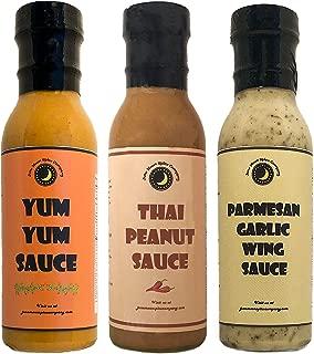 TOP SELLING   Sauce Variety 3 Pack   Yum Yum Sauce   Thai Peanut Sauce   Parmesan Garlic Sauce