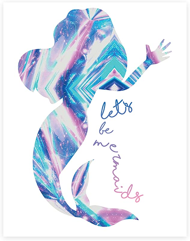 Let S Be Mermaids Print In 11x14 Mermaid Print Mermaid Wall Sign Baby Nursery Wall Decor Kids Bedroom Decor Kids Poster 11x14 Quote Photo Mermaid Decor Wall Mermaid Silhouette