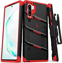 ZIZO Bolt Series Samsung Galaxy Note 10 Case   Heavy-Duty Military-Grade Drop Protection w/Kickstand Included Belt Clip Holster Lanyard (Black/Red)