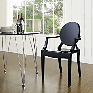 Modway Casper Modern Acrylic Stacking Kitchen and Dining Room Arm Chair in Black - Fully Assembled