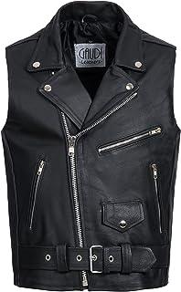 Gaudi-Leathers Chaleco de cuero para hombre Moto o Motocicleta biker Moto Brando style
