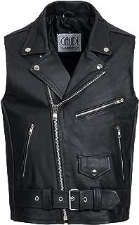 Gaudi-leathers Mens Leather Waistcoat Motorcycle Motorbike Chopper Biker Vest Brando Style in Black