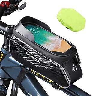 Bike Phone Bag Bike Frame Bag Waterproof Bag for Phone Bike Pouch Bike Phone Mount Compatible...