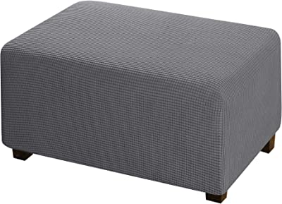 Furniture Protector Soft Rectangle Slipcover with Elastic Bottom Jacquard Polyester Stretch Ottoman Cover Folding Storage Stool for Living Room - Grey