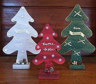 Albero di Natale in Legno, Decorazione Natalizio/Capodanno/Feste, casa, ufficio, ristorante, negozio, verde, rosso, bianco...