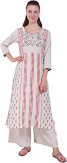 Aasma Creatives Women's Off White Red Print Kurta and Palazzo Set