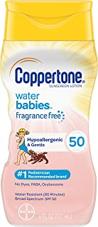Coppertone Pure & Simple Baby SPF 50 Sunscreen Lotion, Tear Free, Water Resistant, #1 Pediatrician Recommended brand, Plus 100% Natural Botanicals,Broad Spectrum UVA/UVB Protection, 6 Ounce