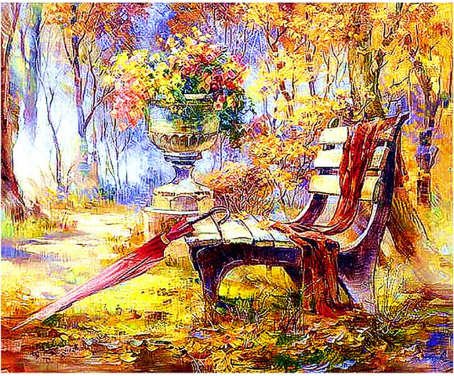 Park Bench Painting Full Highlight Diamond Needlework 5D DIY Diamond Painting Cross Stitch Embroidery Landscape,45x60cm
