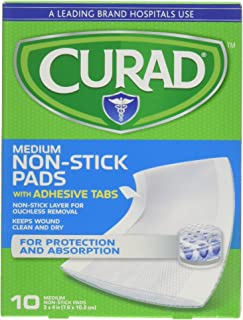 Curad Non-Stick Pads with Adhesive Tabs 3 X 4 Inches, 10 Each (Pack of 2)