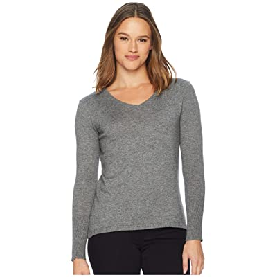 Smartwool Shadow Pine V-Neck Sweater (Medium Gray Donegal) Women