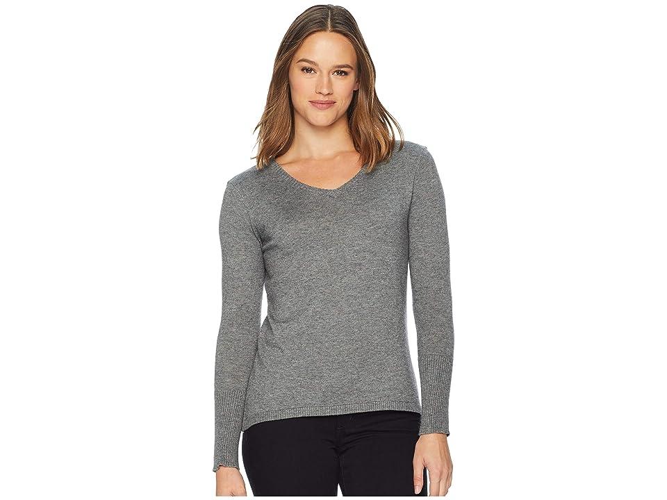 58857b1bd5 Smartwool Shadow Pine V-Neck Sweater (Medium Gray Donegal) Women s Sweater