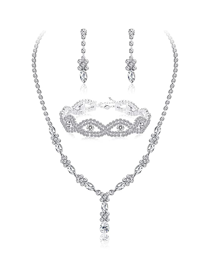 JOERICA Rhinestone Bridesmaid Set for Women Bridal Jewelry Sets Necklace Bracelet Earrings Set Gifts Fit with Wedding Dress
