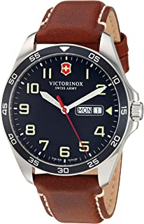 Men's Fieldforce Stainless Steel Analog Quartz Watch with Leather Strap, Brown, 21 (Model: 241848)