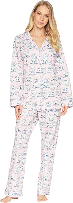 Pink Teacup Long Sleeve Long Pajama Set
