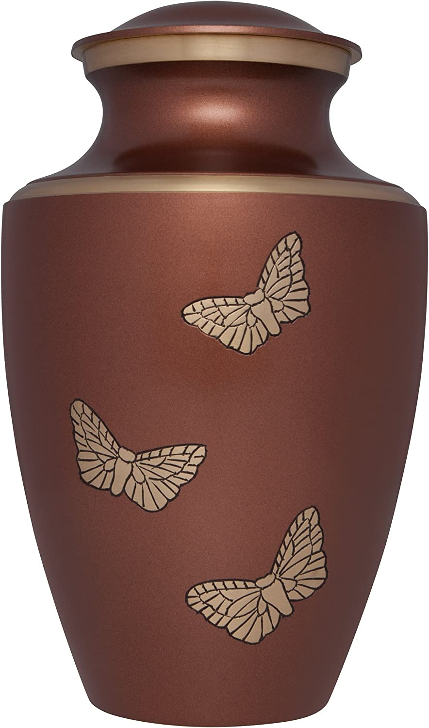 Liliane Memorials Brown Funeral Cremation Urn with gold Butterflies Paprika Model in Brass for Human Ashes; Suitable for Cemetery Burial; Fits Remains of Adults up to 200 lbs, Large 200 lb,