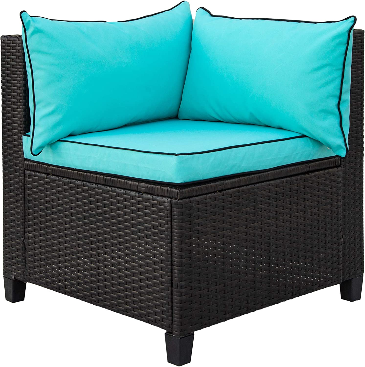 Beige U-Shape Outdoor Patio Furniture Sectional Sofa Furniture Set with Cushions and Accent Pillows Flieks Rattan Wicker Patio Sofa Set