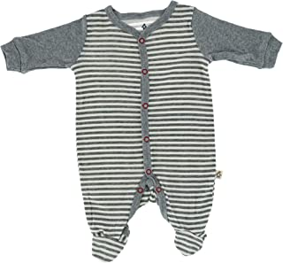 Snugabye Infant Striped Footed Sleeper, 3-6 Months, Grey