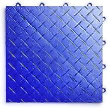 RaceDeck Diamond Plate Design, Durable Interlocking Modular Garage Flooring Tile (12 Pack), Royal Blue