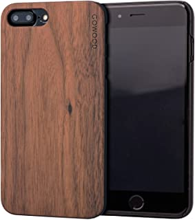 Wood Case for iPhone 7 Plus and 8 Plus   Real Natural Walnut Backside and Durable Hard Polycarbonate Shockproof Bumper and Shock Absorbing Rubber Coating