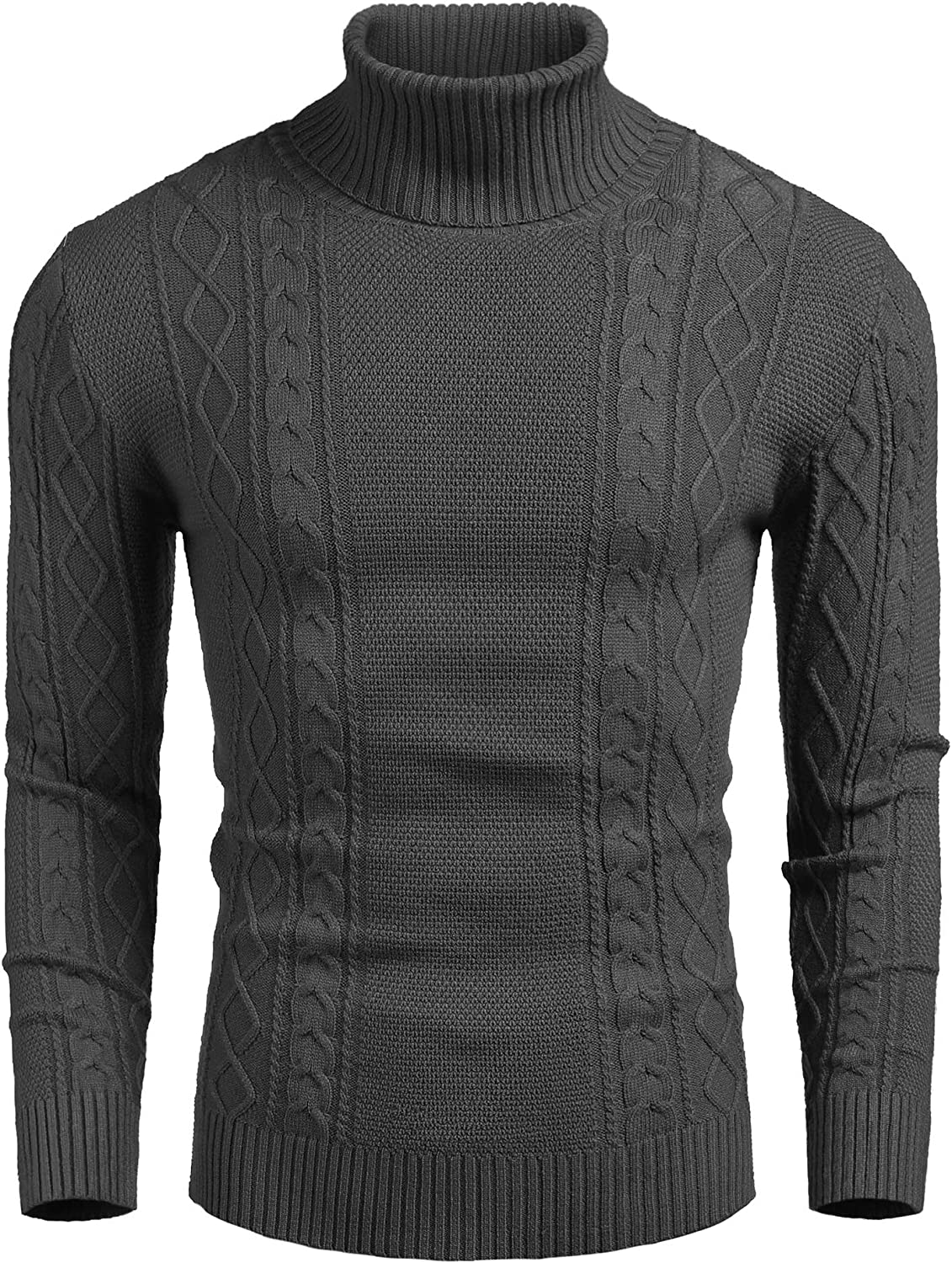 COOFANDY Men's Slim fit Turtleneck Sweater Casual Cable Knitted Pullover Sweaters