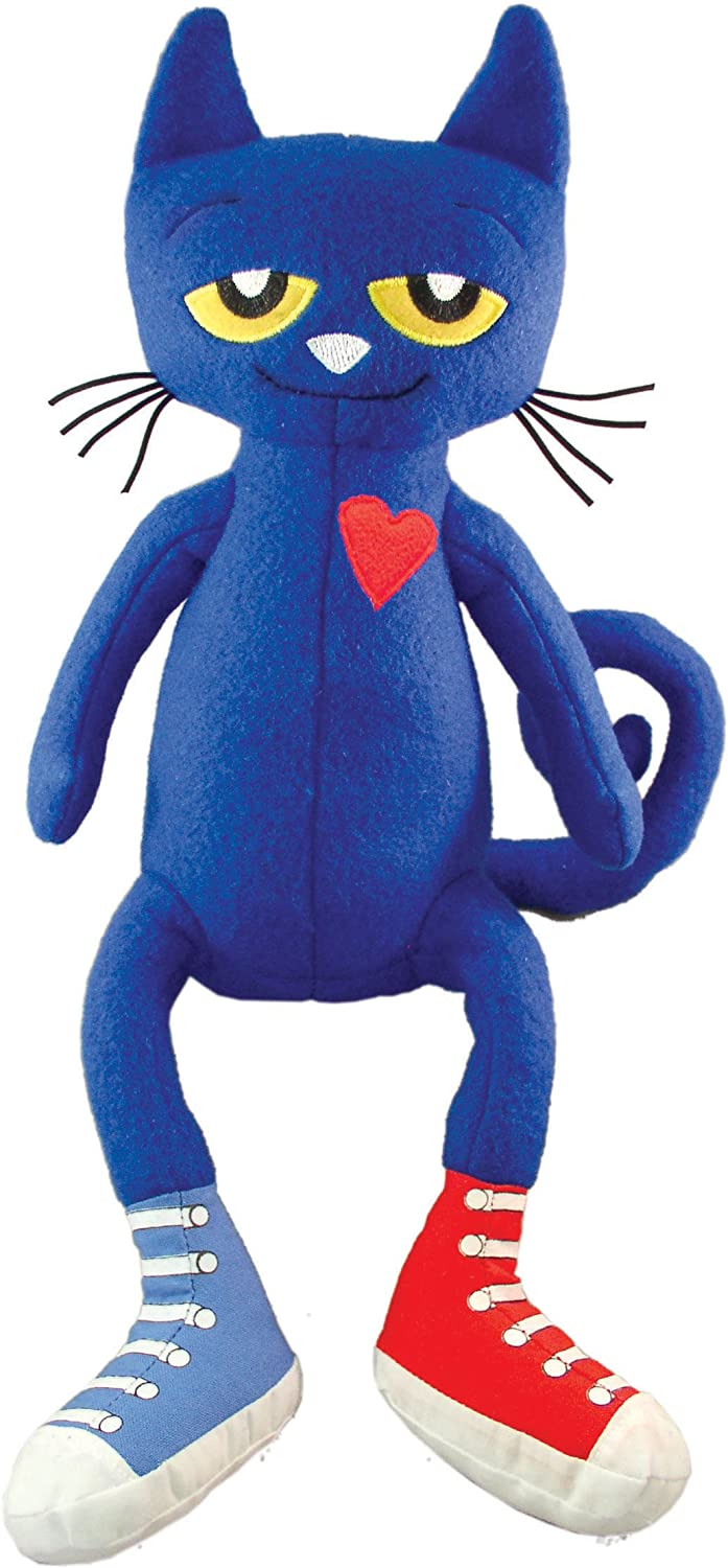 Pete the cat: a blue cat with long arms and legs, yellow eyes, and a red heart on his chest. He wears one blue sneaker and one red sneaker