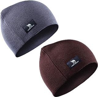 CAMEL CROWN حزمة من 2 قبعة متماسكة كلاسيكية دافئة الشتاء متماسكة قبعة رفع الكفة قبعة للرجال والنساء
