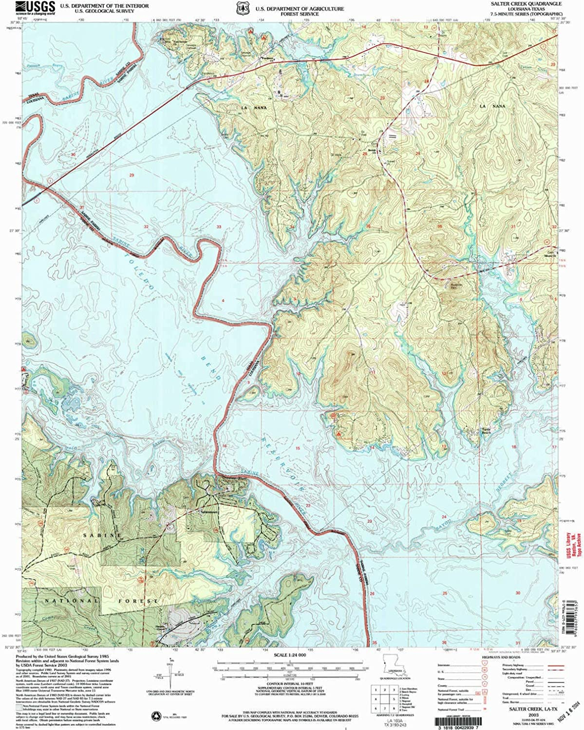 Salter Creek LA topo map, 1 24000 Scale, 7.5 X 7.5 Minute, Historical, 2003, Updated 2004, 26.8 x 22 in