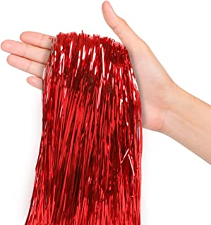 Christmas Tree Decorations Bright Red Tinsel Foil Fringe Icicles Pack of 2000 Strands for Home Holiday Decor Easter Basket Filler Centerpieces Bachelorette Quinceanera Birthday Graduation Supplies