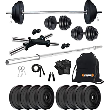 Kore PVC 16-30 Kg Home Gym Set with One 4 Ft Plain and One Pair Dumbbell Rods with Gym Accessories