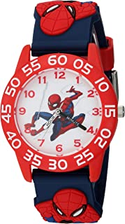 MARVEL Boys Spider-Man Analog-Quartz Watch with Plastic Strap, Blue, 16 (Model: WMA000169)