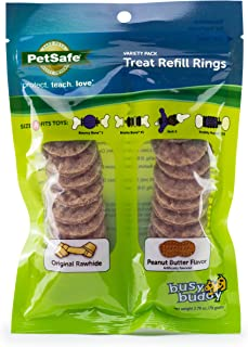 Best PetSafe Natural Rawhide Rings, Dog Toy Treat Ring Refills for Busy Buddy Dog Toys, Small, Medium, Large and Variety Packs Available in Peanut Butter and Original Rawhide Review