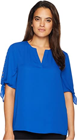 V-Neckline Blouse with Tie Sleeves and Open Neckline