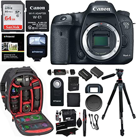 $1399 Get Canon EOS 7D Mark II Digital SLR Camera Body, Sandisk 32GB Card, Wi-Fi Adapter, Ritz Gear Camera Backpack, Polaroid Flash, and Accessory Bundle