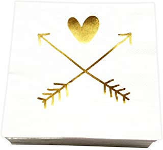 Wedding, Bridal Shower Napkins with Gold Heart and Arrows, 40 Count by 44Cloverdale