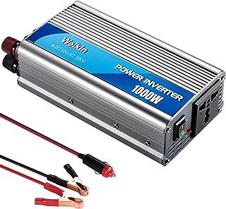 Weikin Convertisseur 1000W Transformateur 12V 220V Sortie avec Prises Universelles Pour..