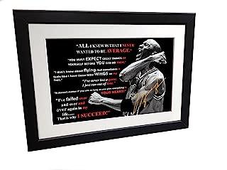 Kicks Michael Jordan MOTIVATION Signed 12x8 A4 Chicago Bulls Basketball Autographed Photo Photograph Picture Frame Gift