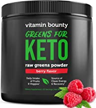 Vitamin Bounty - Greens for Keto - Berry Flavor Raw Greens Powder - only 3g net Carbs per Serving - Plant Based Food Fruit...