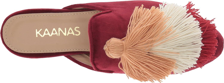 KAANAS Womens Mompox Velvet Mule Slide with Tassels Flat Shoe