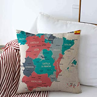 Throw Pillow Covers Europe Blue Aragon Spain Map Gray Government Balearic Islands Barcelona Basque Provinces Design Cushion Square Decorative Case Linen for Winter Sofa Bed 18