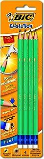 Lápis Preto Evolution Hexagonal com Borracha, BIC 845963, Preto, Pacote de 4