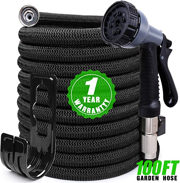 Expandable Garden Hose 100ft Kink Free Water Hose With 10 Functions Nozzle Flexible Hose Outdoor Yard Hose Lightweight Expanding Garden Hose Black Freshwater Hoses