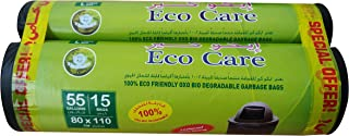Eco Care Black Garbage Bag Roll, 15s, 55 Gallon - 80x110x2