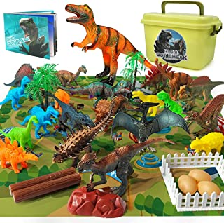 Gzsbaby Dinosaur Toys- 36 PCS Educational Realistic Dinosaur Figures for 6 5 4 3 Years Old Boys Girls Kids with Activity Play Mat and Dinosaur Book (36pcs Dino Play Set)