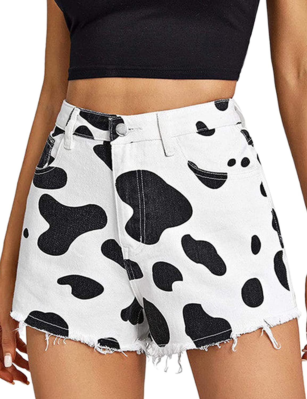Uaneo Womens Denim Cow Print Mid Rise Raw Hem Casual Summer Jean Shorts(Black-XS)