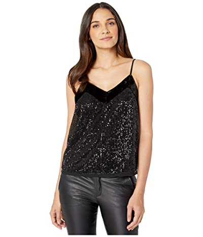Miss Me Velvet Trim Sequin Cami (Black) Women