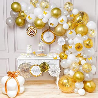 PartyWoo Gold White Balloon Garland Kit, 135 pcs of 8 Gold White Paper Fans, 10 Gold Butterflies, 2 Jumble Confetti Balloons, White Silver Balloons, Gold Metallic Balloons for Gold and White Party