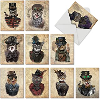 Steampunk Cats Assorted Greeting Cards with Envelopes (10 Pack) - Animal Blank Note Cards for All Occasions - Assortment of Kitten and Cat Mini Stationery Notecards 4 x 5.12 inch M6554OCBsl