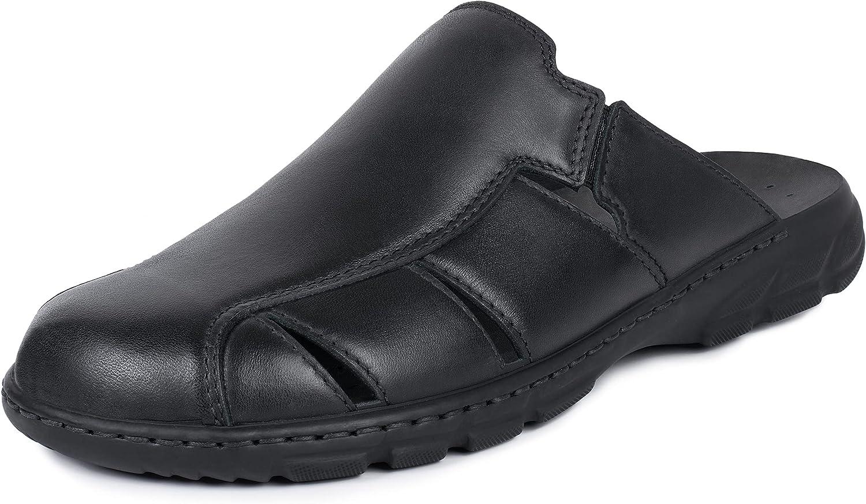 gelewo Herren Pantolette Sens 02, rundum Leder, druckentlastend gefüttert, herausnehmbares Fußbett, Bequeme Weite